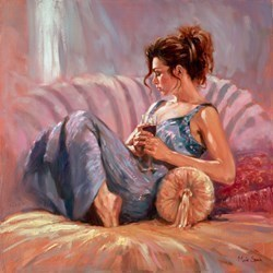 Reclining with Wine by Mark Spain -  sized 24x24 inches. Available from Whitewall Galleries